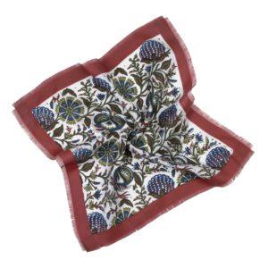 Stecktuch Blumen marine/weinrot handbedruckt