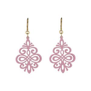 Hornohrringe Ornament klein rosa